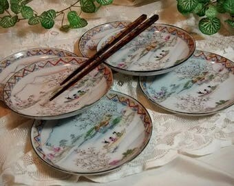 6 Vintage Asian Handpainted Saucers Made in Japan