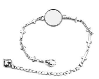 12mm Bezel, Hypoallergenic Stainless Steel Cabochon Bracelet, DIY Charm Bracelets, Link Chain Lobster Claps, Cross
