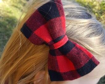 Buffalo plaid hair bow, buffalo plaid clip on bowtie