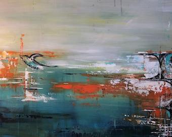 contemporary art mid-century - original painting hope
