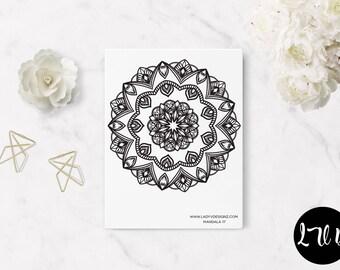 Printable Mandala Adult Coloring Book Pages - Mandalas (17-20) ITEM #194 - Letter Size - Coloring Book Bundle