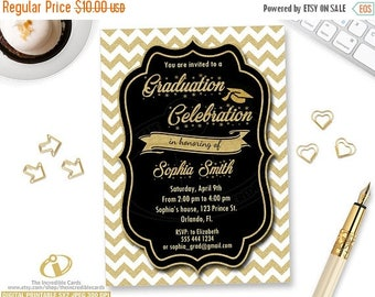 50% OFF SALE GRADUATION Party Invitation, Graduation Invitation, Printable Graduation Invite, Black White & Gold Glitter Grad Class Of Invit