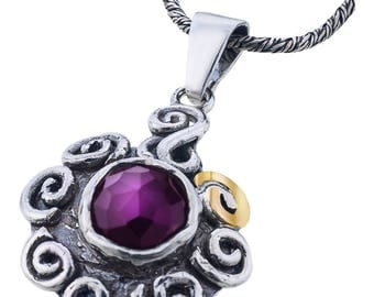 Silver and Gold Pendant, red amethyst zircon pendant, Zircon pendant, Rock crystal, Sterling silver, handmade