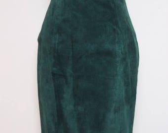30% OFF VTG 90s Green Suede Leather High Waist Skirt Vest 2 Piece Suit S