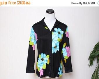 30% OFF VTG 70s Floral Hippie Boho Polyester Blouse Top M/L