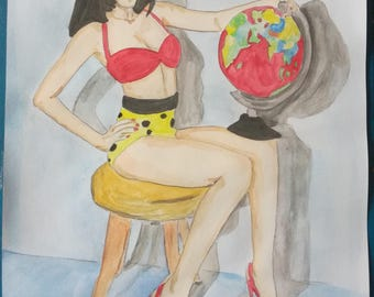 "Pin up erotic watercolor painting, female nude, fine art A4 21 x 29,7 ""geography"""