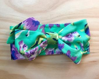 Headbow, headwrap, bow, big girl bow, topknot, Amy Butler, floral