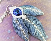 Feather pendent- Swarovski Pendent- Blue Pendent- Blue feather- Sapphire feathers