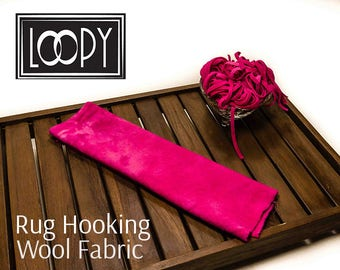 Rug Hooking 100% wool fabric, Bright Pink (Cosmo Pink) hand dyed for rug hooking or wool applique