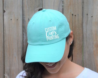 Custom Ladies cotton caps printing / Custom hats printing  / Design your caps / Women's hats / Heat press vinyl / 100% cotton twill hats