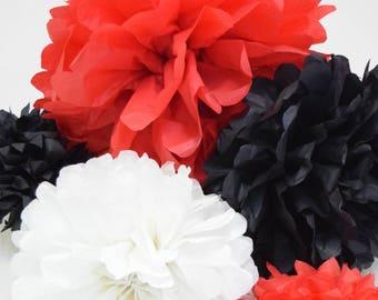 Red, White, & Black Tissue Paper Pom Poms, Party Decorations, Tissue Paper Flowers