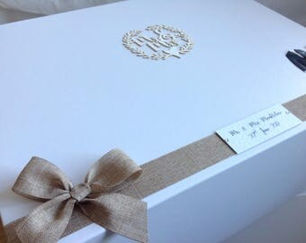 EXTRA LARGE wedding keepsake box, matt white with magnetic closure. 400mmx 300mm x180mm