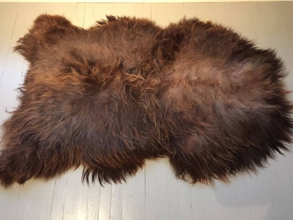 Sheepskin rug, rugged volumous throw sheep skin long haired Norwegian LARGE pelt natural brown 17223