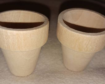2 tiny wooden flower pots