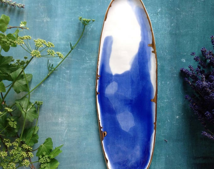 Featured listing image: Watercolor porcelain platter with 23K gold rim