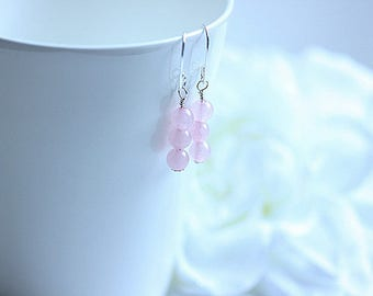 Elegant Pink Quartz Earrings, Rose Quartz Earrings in Sterling Silver, Rose Quartz Jewelry, Gemstone Earrings, Pink Earrings, Gift for her
