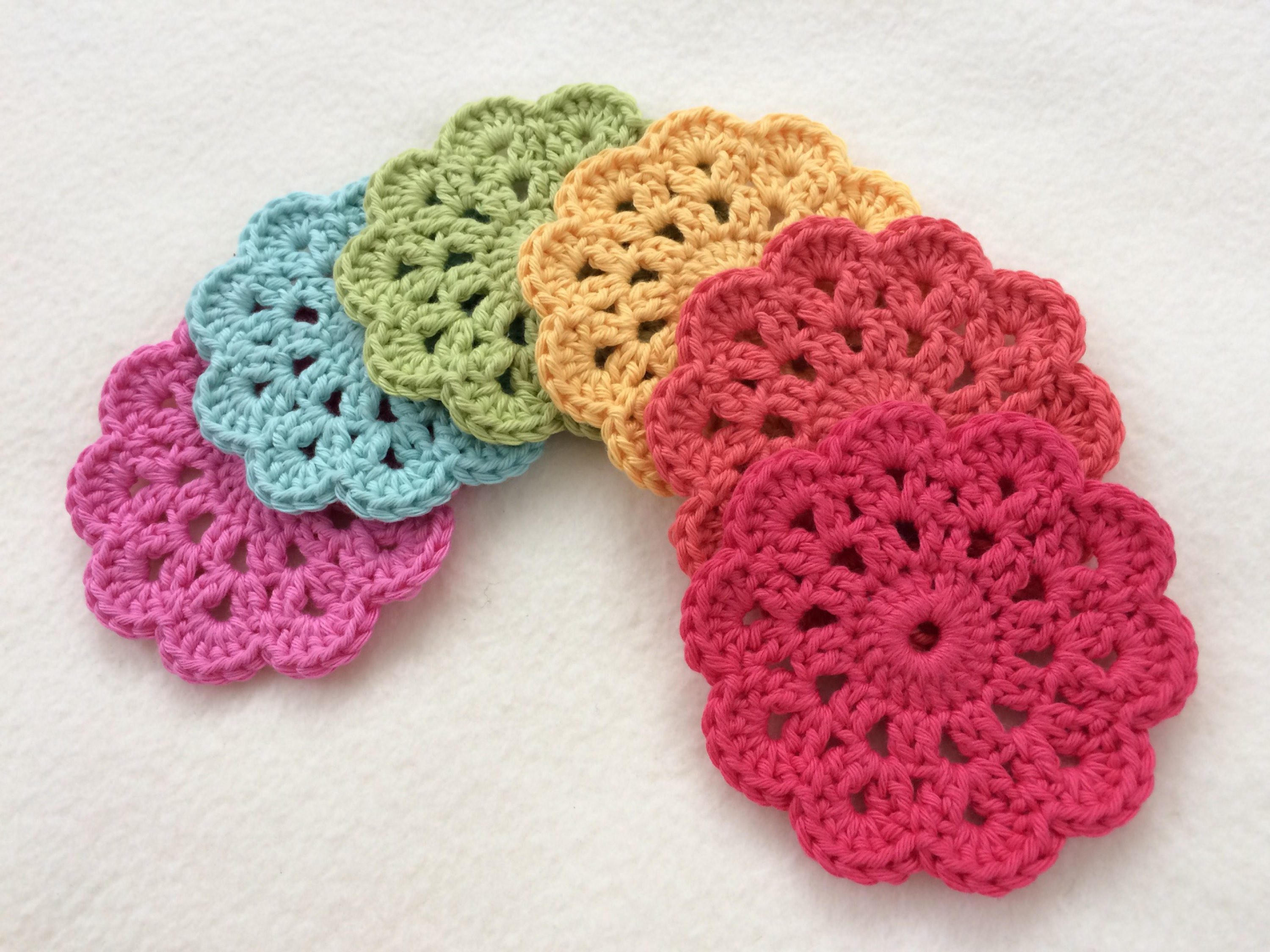 Crochet Flower Coasters Shabby Chic Cotton Coasters