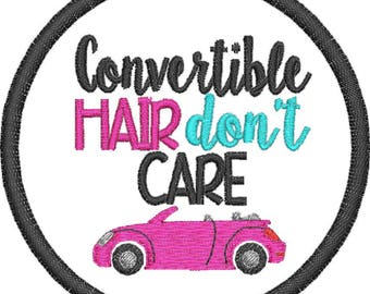 Embroidered Convertible Hair Don't Care Hat Patch/ Iron On Convertible Hat Patch/ Sew On Convertible Hat Patch/ Convertible Hat Patch/