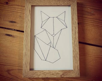 Geometric fox string art