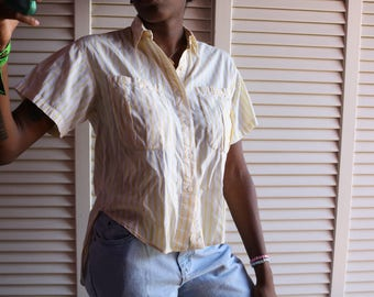Vintage Pastel Yellow Striped Button Down