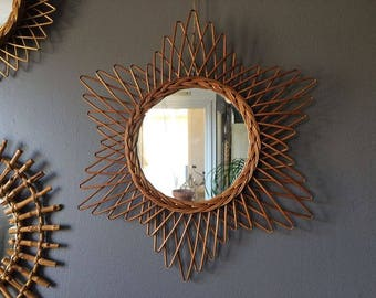 Large Star shapped rattan mirror - French Vintage - 60s