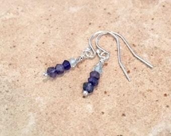 London blue quartz and aquamarine drop earrings, Hill Tribe silver earrings, dangle earrings, silver drop earrings, Sundance style earrings