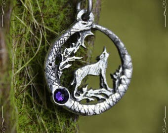 "Ouroboros and wolf pendant ""The Wolf Song"" with amber, iolite, seraphinite or swarovski crystal"