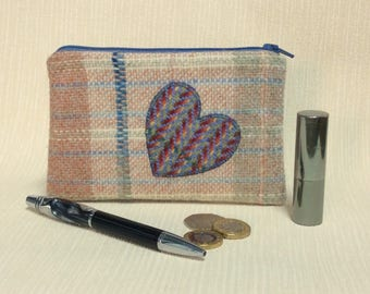 Welsh tweed zipped coin purse/change purse in cream, apricot & blue, with blue appliqued heart