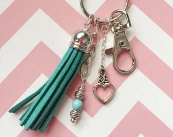 Tassel Key Ring Purse Charm, Luggage Tag, Turquoise Fringe Key Charm, Tassel Zipper Pull, Thank You Gift for Teacher Gift, OOAK