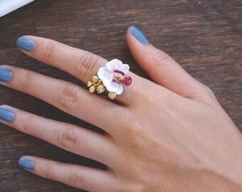 Phalaen White Ring , Flower Ring , Handpainted GOODAFTERNINE , Phalaenopsis , Orchid