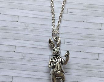 Rabbit Necklace, Im late Necklace, Alice in Wonderland Rabbit Necklace, Alice in Wonderland Necklace, Rabbit Jewellery, Gift for Her,