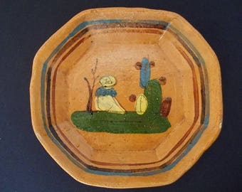 Old Mexican Hand Painted Pottery Dish Sleeping Hombre w Cactus