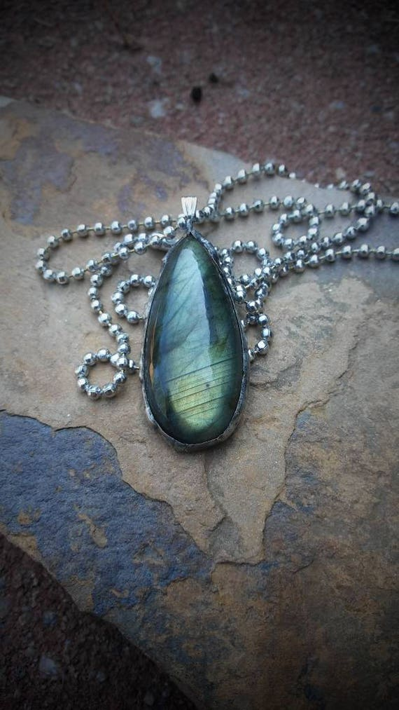 Green Flash Labradorite- Tiffany Technique Labradorite - Boho Jewelry - Gifts for her - Soldered Labradorite