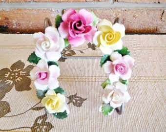 Adderley 1940s fine porcelain horseshoe set with roses, handpainted floral, collectible, gift idea