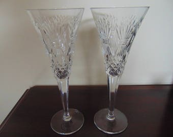 A Pair of Waterford Millennium Universal Collection Signed Crystal Flutes- Prosperity