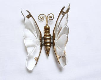 rare JELLY BELLY LARGE vintage Trembler lucite butterfly