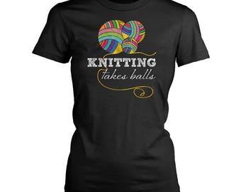 Knitting womens fit T-Shirt. Funny Knitting shirt.