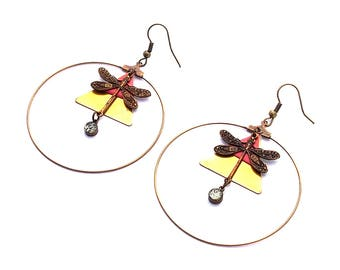 Earring creole ormolu vintage triangle geometry 50mm dragonfly