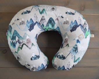 nursing pillow cover watercolor mountains, woodland boppy cover replica mountains, green nursery decor, mountain nursery