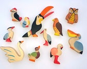 Wooden toys, Play set for kids, Wooden Bird, Bird set, Bird figurine, Baby shower, Bird toys, Nature table, Organic toys, Toys for toddlers