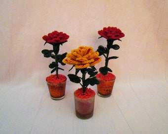 Handmade Red or Red/Yellow Rose in own pot