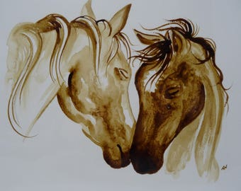 Horses, coffee, painting