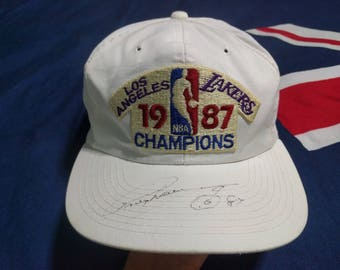 Vintage 80s Los Angeles Lakers 1987 Championship Hat cap Snapback with signature