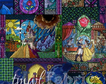 Woven Fabric - Disney Belle Stained Glass - Fat Quarter Yard +