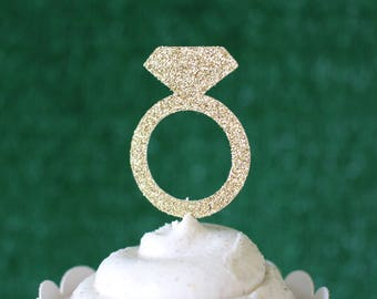 Ring Cupcake Toppers - Diamond Cupcake Toppers - Diamond Ring Cake Toppers - Glitter Rings - Bachelorette Party Decorations - Hen Party