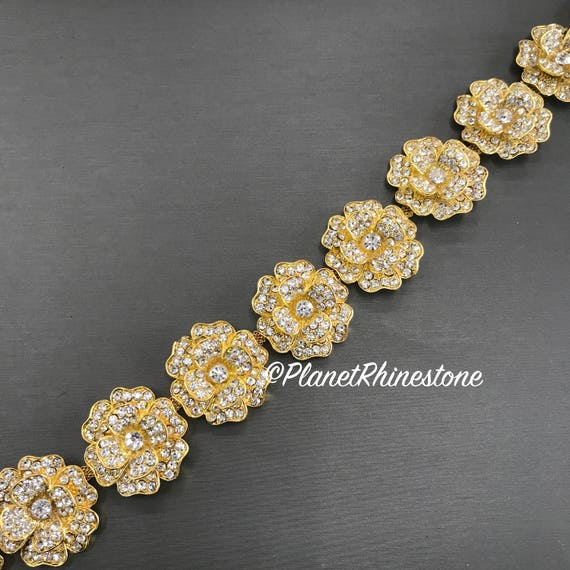 Gold Floral Crystal Trim  #T-G