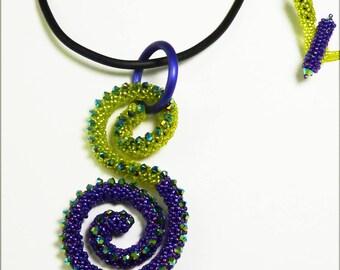 Treble Clef Pendant Chartreuse & Purple
