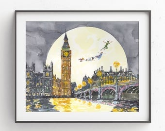 Off to Neverland, Peter Pan flying, Peter Pan print, London, Peter Pan Wendy flying, Big Ben, Peter Pan watercolor, Disney Watercolor