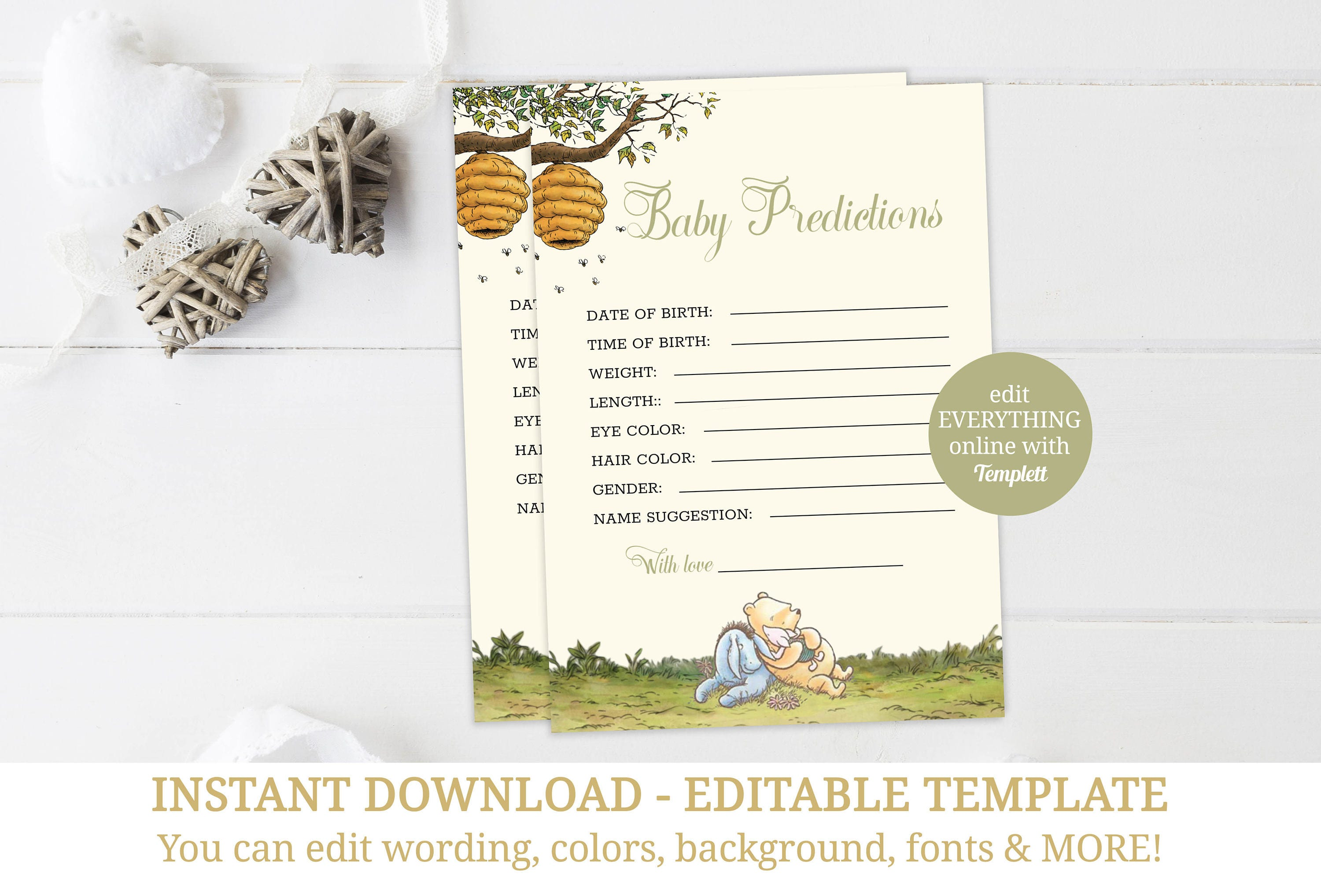 Yellow Winnie Pooh Baby Shower Baby Prediction Card, Classic Pooh ...