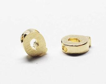P0721/Anti-Tarnished Gold Plating Over Brass /Brushed Mini Alphabet Charm/5x7.8mm/2pcs